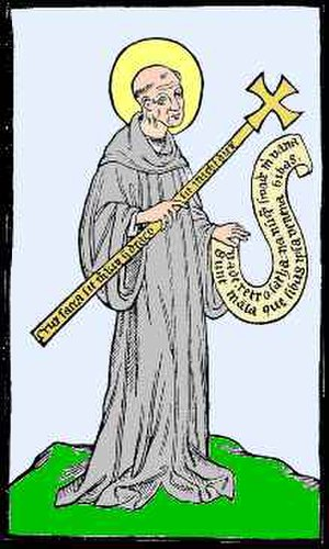Metten Abbey - Image of Saint Benedict with a cross and a scroll stating Vade retro satana based on the last page of the 1415 book found in the Metten Abbey library.