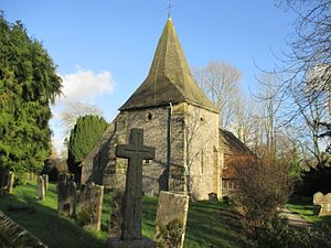 Ashurst, West Sussex - Image: St James' church and war memorial