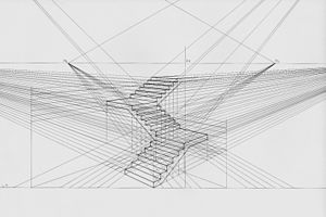 Perspective (graphical) - Staircase in two-point perspective
