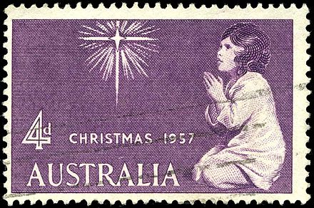 First Christmas stamp of Australia, 1957 Stamp AU 1957 4p Xmas.jpg