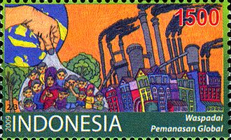 Environmental issues in Indonesia - 2009 postal stamp of Indonesia featuring air pollution.