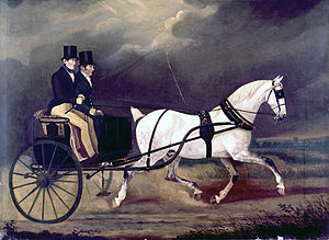 Stanhope (carriage) - A Stanhope gig depicted in an oil painting, circa 1815-1830