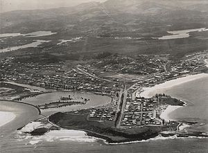 City of Gold Coast - Aerial view looking towards Coolangatta, ca. 1952