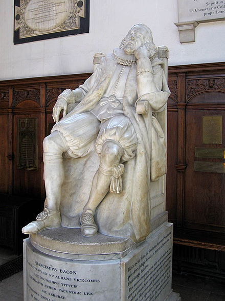 Memorial to Bacon in the chapel of Trinity College, Cambridge StatueOfFrancisBacon.jpg