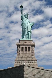 The Statue of Liberty was for many immigrants their first glimpse of the United States. It signifies freedom and personal liberty and is iconic of the American Dream.