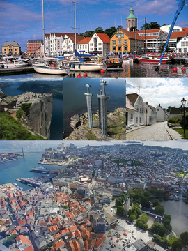 Top: View of Valberg Tower and the Kartblad waterfront area, middle left: Pulpit Rock in the Ryfylke area, center: Monument to the Battle of Hafrsfjord, middle right: Gamle area, bottom: View of Vagen and Stavanger area