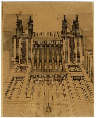 Futurist architecture - Perspective drawing from La Città Nuova by Sant'Elia, 1914.