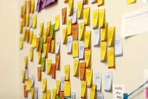 Sticky notes on the wall of the Wikimedia Foundation office, 2010-10-26.jpg