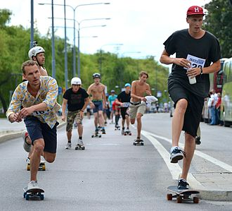 Human-powered transport - Skateboards are propelled by pushing (one foot riding on board, one foot pushing on ground) or by gravity