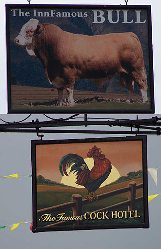 Coaching inn - Pub signs of the Cock and the Bull