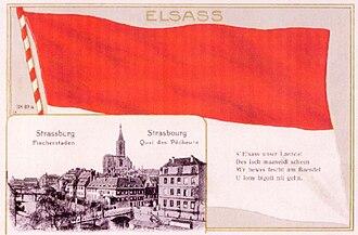 Alsace independence movement - Image: Straßburger Postkarte, Bild von dem Münster und dem Stadt Zentrum, und Elsässische Fahne »Rot un Wiss«