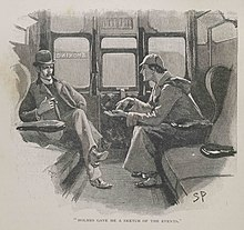 Holmes (in deerstalker hat) talking to Watson (in a bowler hat) in a railway compartment