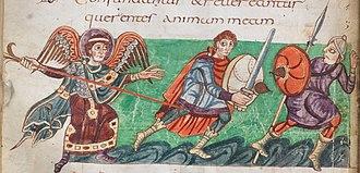 History of heraldry - Depiction of Carolingian-era round shields (Stuttgart Psalter, 9th century). The spiral patterns represent iron bracing reinforcing the shield.