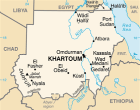 Map of Sudan showing Khartoum.