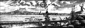 Enköping - Enköping circa 1700, from Suecia antiqua et hodierna.