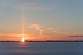 Sun pillar during sunrise on a cold winter day.jpg