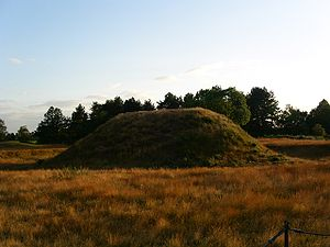 Archaeology of Anglo-Saxon England - One of the tumulus burial mounds at Sutton Hoo.