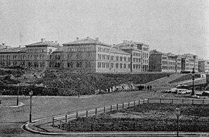 Svea Life Guards - The barracks of Svea Life Guards and Göta Life Guards at Linnégatan, Stockholm, circa 1890.