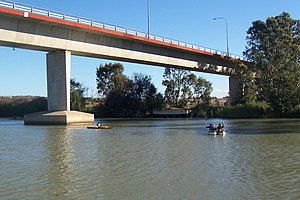 Box girder bridge - Single box girder bridge (concrete), Australia. A similar bridge on this river was fabricated ashore and pushed across its pylons.