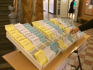 Elections in Sweden - Swedish polling station with an assortment of ballots for different parties, from which voters normally have to choose openly for all to see.