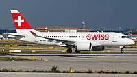 Swiss Bombardier CSeries CS100 (HB-JBH) at Frankfurt Airport.jpg