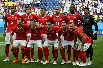 Switzerland national football team - The Switzerland national team line-up before the game against Sweden, on 3 July 2018, in Saint Petersburg.