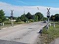 Székesfehérvár–Szombathely railway line level crossing by Kisréti street, Jutaspuszta, Veszprém, 2016 Hungary.jpg