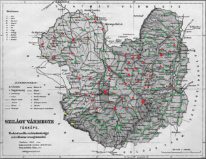 Szilágy County - Ethnic map of the county with data of the 1910 census (see the key in the description)