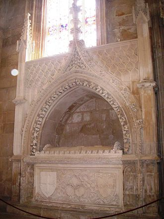 Ferdinand the Holy Prince - Ferdinand's tomb at House of Aviz necropolis in Batalha Monastery. Set up in 1443, Ferdinand's organs were deposited here in 1451, his bodily remains in 1472-73.