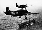 TBF-1 Avengers of VT-2 over USS Hornet (CV-12) in 1944.jpg