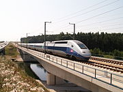 In July 2006, a French TGV undertakes a 330 km/h test ride for technical approval in Germany.