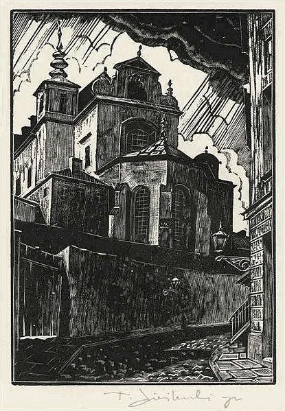 > Vue de L'église Saint Anne de Varsovie en 1929 par Tadeusz Cieślewski (syn).
