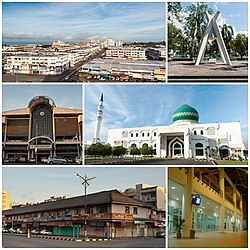 From top left: Tawau town skyline, Konfrontasi Memorial, Tawau Market, Al-Kauthar Mosque, Tawau old shop houses and Tawau Airport Lobby Hall.