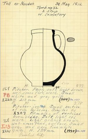 William F. Badè - Expedition note card with drawing of a jug found at Tell en-Nasbeh, illustrating the manner of recordkeeping
