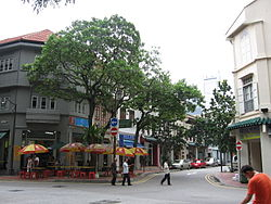 Telok Ayer Street, one of the earliest thoroughfares in downtown Singapore.