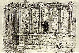 Roman Temple of Évora - Sketch of the Temple, circa 1870, showing its state before restorations by Giuseppe Cinatti