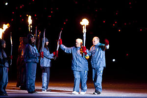 2010 Winter Paralympics opening ceremony - Betty and Rolly Fox, the parents of Terry Fox, carried the Paralympic torch into the stadium.