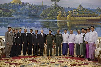 State Peace and Development Council - SPDC members with Thai delegation in an October 2010 visit to Naypyidaw.
