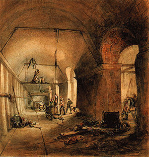 Thames Tunnel - Inside the Thames Tunnel during construction, 1830