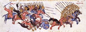 Battle of Azaz (1030) - The Arabs drive the Byzantines to flight at Azaz, miniature from the Madrid Skylitzes