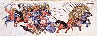 Romanos III Argyros - Arab cavalry pursue fleeing Byzantines after the Battle of Azaz