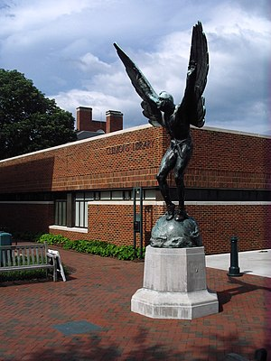 The Aviator statue outside Clemons Library.JPG