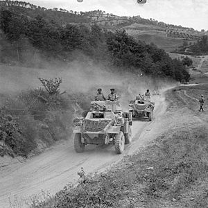 Indian Army during World War II - Humber armoured cars of 10th Indian Division move forward in Italy, 22 July 1944.