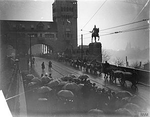 British Army of the Rhine - Field Marshal Lord Plumer, General Officer Commanding-in-Chief the British Army of the Rhine, taking the salute from the 29th Division entering Cologne by the Hohenzollern Bridge