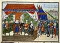 The King of Hungary holding council in his tent on the battlefield - Froissart's Chronicles (Volume IV, part 2) (1470-1475), f.84 - BL Harley MS 4380.jpg