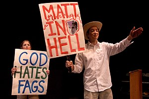 The Laramie Project - Scene from 2005 performance depicting Westboro Baptist Church protesters