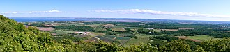 "Annapolis Valley - Near the Eastern End. Looking east, southeast across the Annapolis Valley from the area known as ""The Lookoff"", North Mountain, Nova Scotia, Canada"