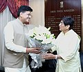 The Lt. Governor of Puducherry, Ms. Kiran Bedi meeting the Minister of State for Power, Coal, New and Renewable Energy and Mines (Independent Charge), Shri Piyush Goyal, in New Delhi on July 28, 2016.jpg