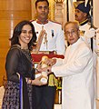 The President, Shri Pranab Mukherjee presenting the Padma Bhushan Award to Ms. Saina Nehwal, at a Civil Investiture Ceremony, at Rashtrapati Bhavan, in New Delhi on March 28, 2016.jpg