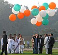 The President, Smt. Pratibha Devisingh Patil releasing tricolour balloons on the occasion of the 94th Birth Anniversary of the former Prime Minister, Late Smt. Indira Gandhi, at Shakti Sthal, in Delhi on November 19, 2011.jpg